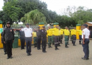 Fire Fighter affiliated to WoF and uMfolozi Municipality prepares to march during the International Fire Fighters Day at the municipality.